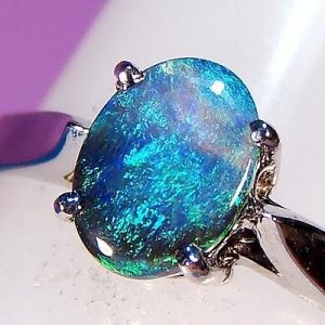 blue fire opal ring, gemstone