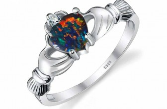 Sterling Silver Irish Claddagh Ring With 0.6CT CZ Black Opal