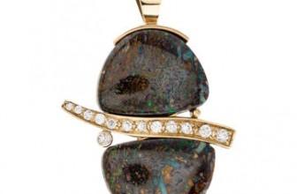 14K Boulder Opal & Diamond Pendant