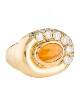 18K MEXICAN FIRE OPAL & DIAMOND RING