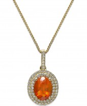 Fire Opal (1-1/10 ct. t.w.) and Diamond (1/3 ct. t.w.) Pendant Necklace in 18k Gold