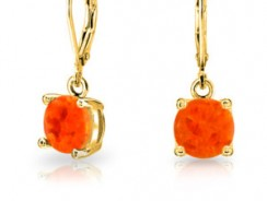 Gold Plated 925 Silver Orange Synthetic Mexican Fire Opal Leverback Earrings