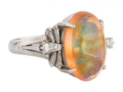Platinum Mexican Fire Opal & Diamond Ring