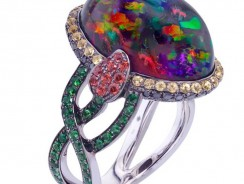 Rare Mexican Fire Opal, Sapphire, Garnet Black Diamonds Ring
